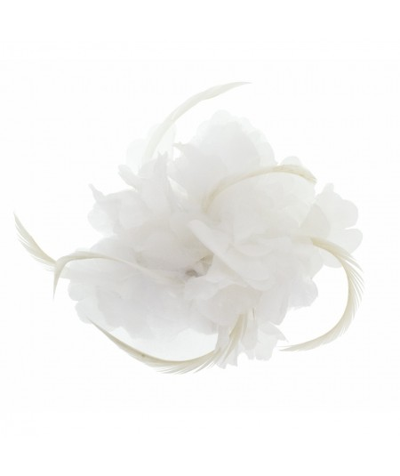 Bridal Floral Barrette with Feather designed by Jennifer Ouellette