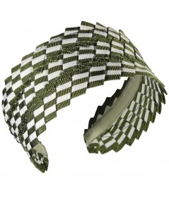 Green White Extra Wide Pleated Stripe Grosgrain Headband