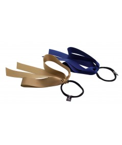 Sable and Navy Satin Large Bow Ponytail Holder
