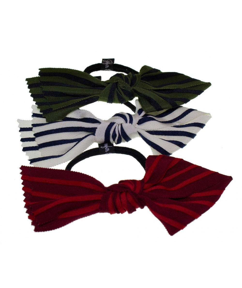 Grosgrain Stripe Loop Tie Hair Elastics