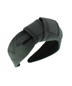 Charcoal Twill Film Print with Center Turban Headband