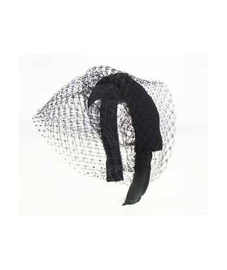 Women Grosgrain Center Bow with Veiling Summer Small Hat