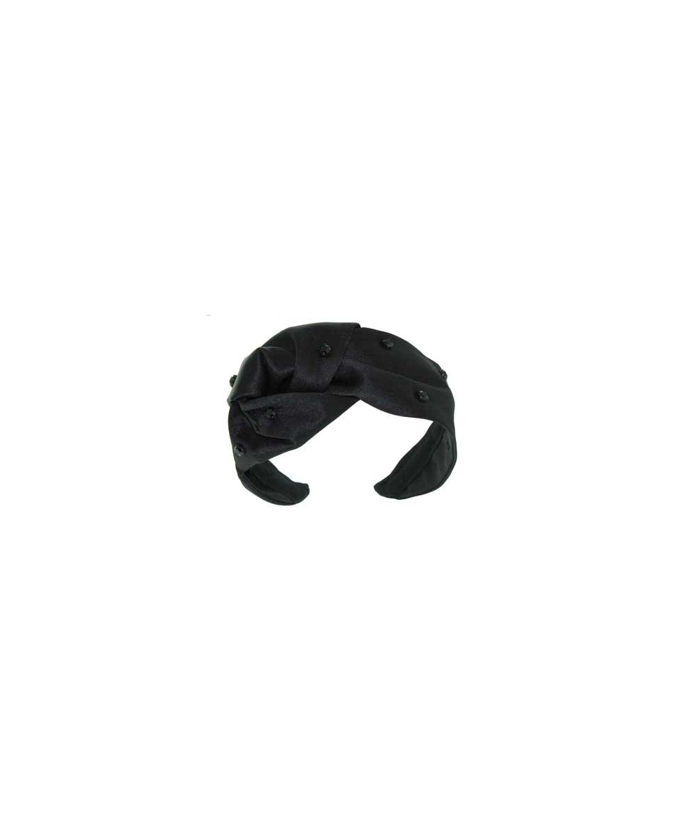 Satin Morley Turban Headband with Black Jeweled