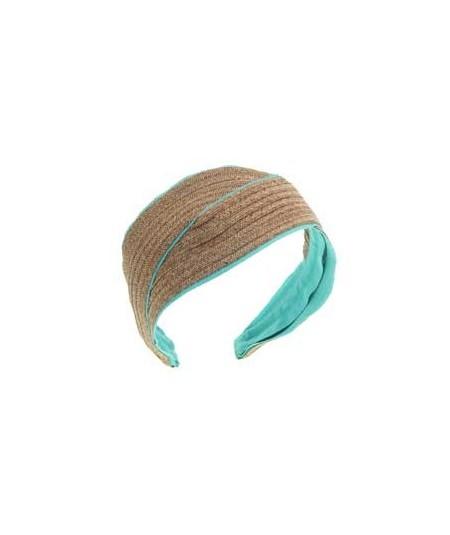 Wheat Toyo with Sea Breeze Grosgrain Turban Headpiece