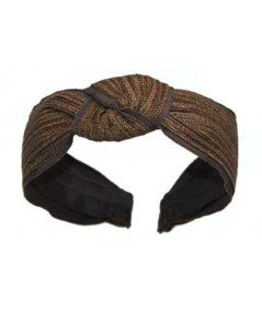 Brown Toyo with Brown Grosgrain Center Turban Headband