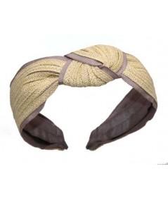 Butter Toyo with Cocoa Grosgrain Center Turban Headband