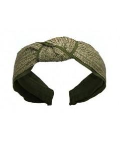 Green Toyo with Green Grosgrain Center Turban Headband