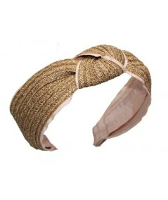 Wheat Toyo with Peach Grosgrain Center Turban Headband