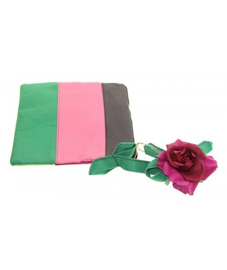 Grosgrain Ribbon Handbag with Grosgrain and Rose Flower Handle