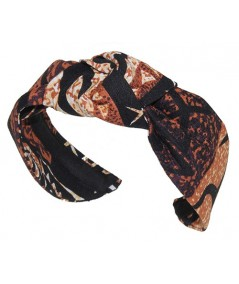 Brown Native Hawaiian Print Center Turban Headband