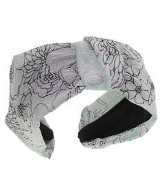 Draped Silk Print Chiffon Miss Draper Center Turban Headpiece