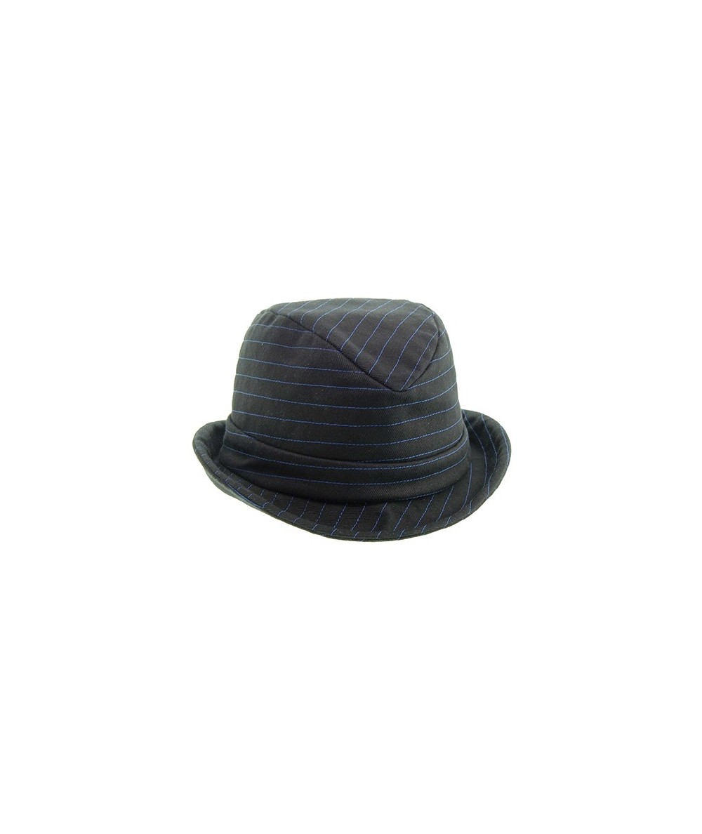 Black Summer Twill with Colored Stitch Fedora Hat