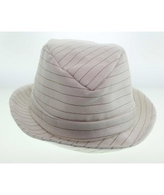 Ivory Summer Twill with Colored Stitch Fedora Hat