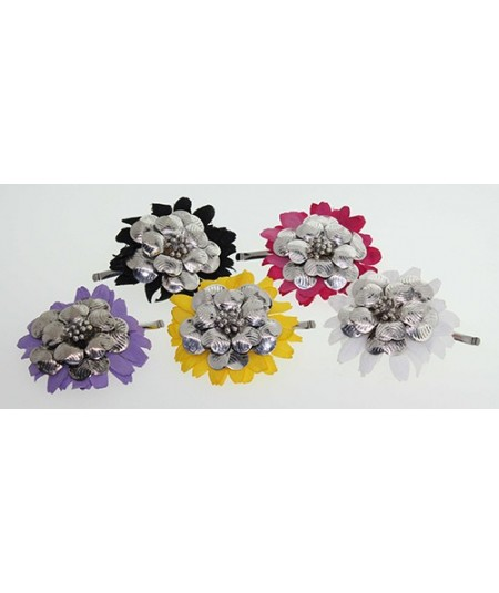 Metal Flowers with Daisy Flower Hair Clip