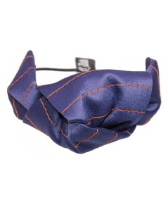 Navy Satin with Colored Stitch Bow Hair Tie