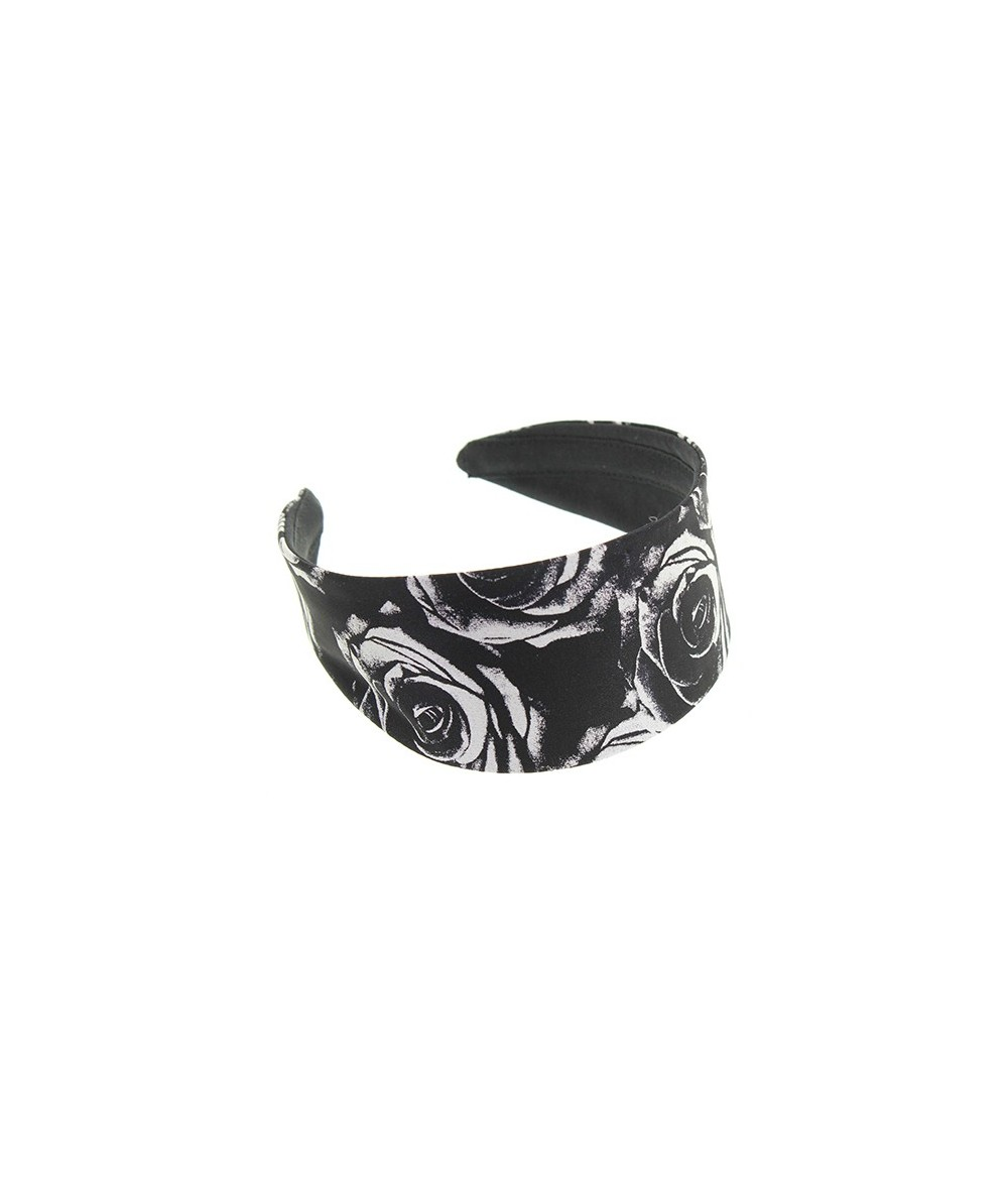 Black and White Roses Silk Print Exra Wide Basic Headband