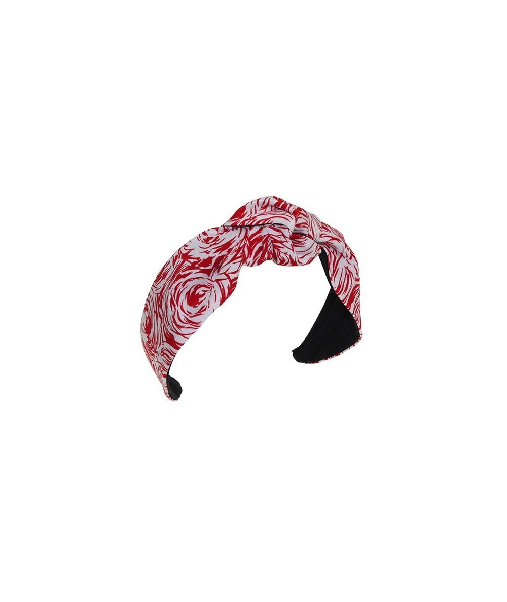 White and Red Roses Silk Print Center Knot Turban Headband