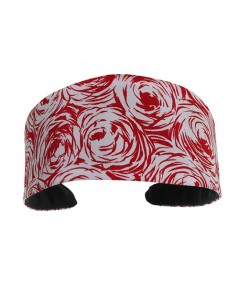 White and Red Roses Extra Wide Basic Headband