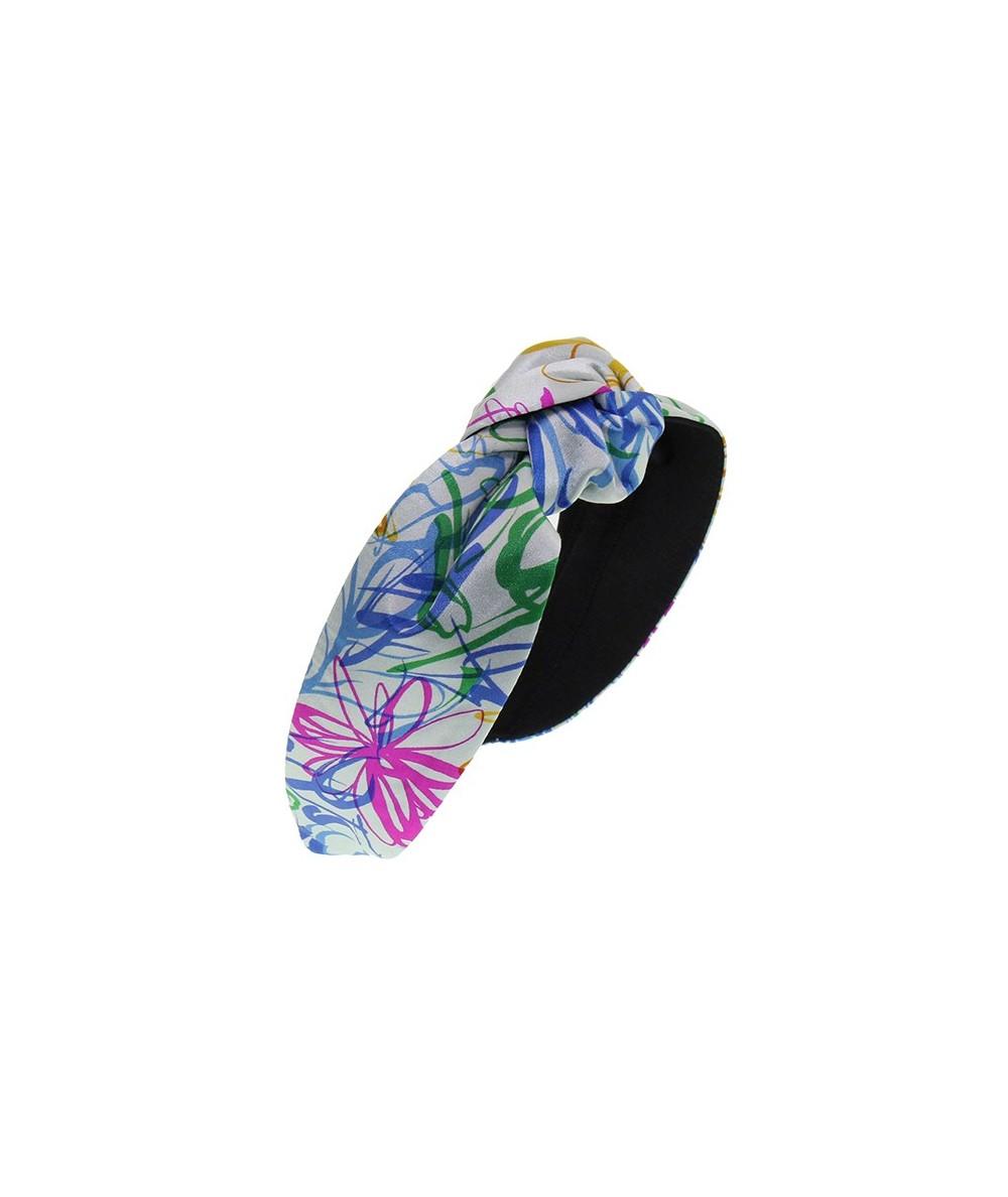 Summer Multi Flower Silk Print Center Turban Headband