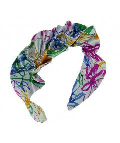 Ruffle Multi Flower Silk Print Headpieces for Summer