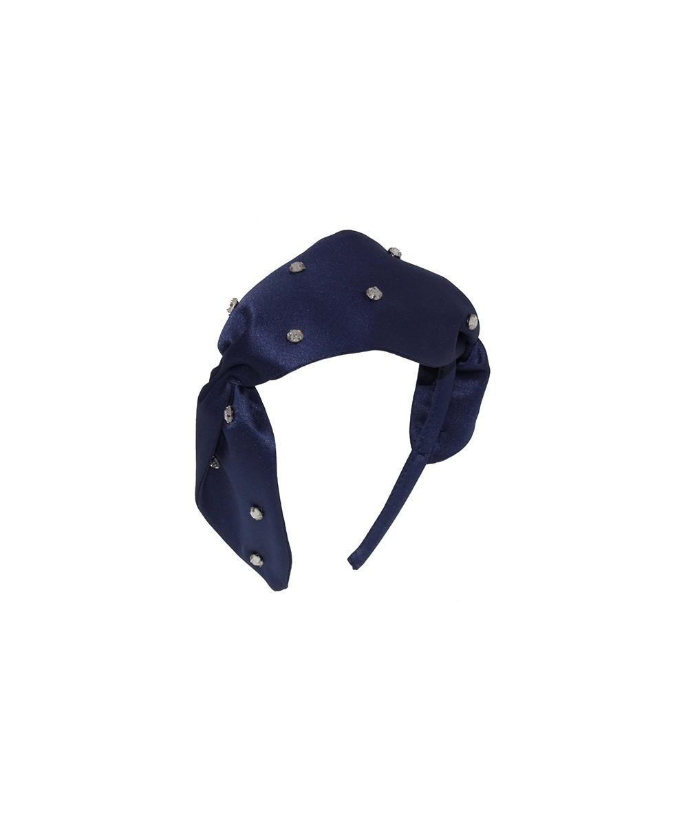 Satin Twist Headband Jeweled with Crystal Stones