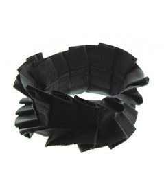 Black Pleated Grosgrain Wristband