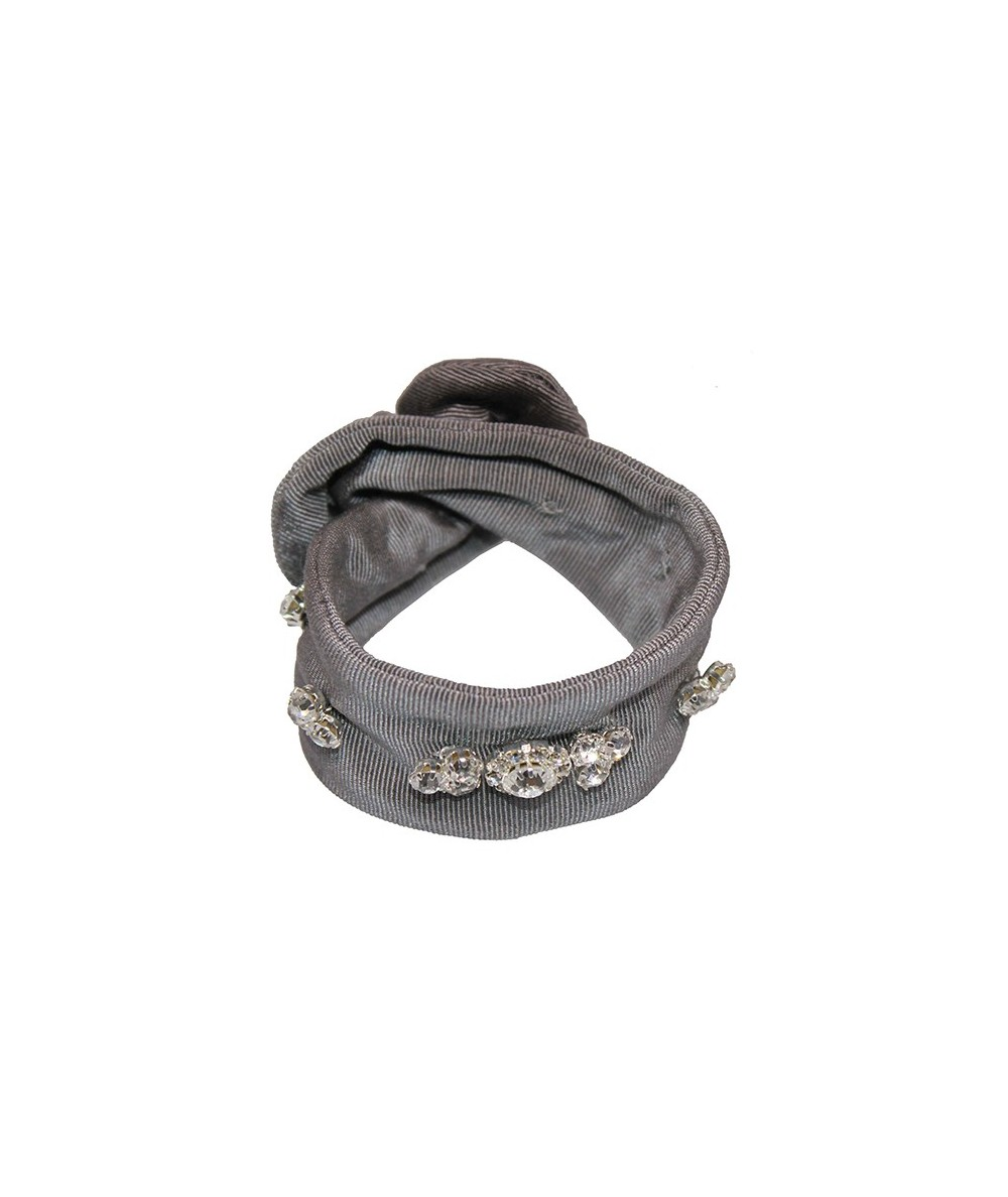 Steel Grey Bengaline Wrap Jeweled Wristband