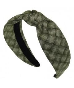 Green Summer Lauhala Cotton Print Center Turban Headband