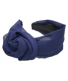 Navy Silk Chiffon Extra Wide Headband with Side Handmade Rose