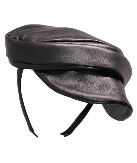 Black Soft Leather Cap Headpiece