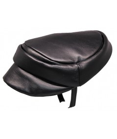 Black Soft Leather Cap Headpiece