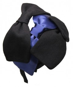 Twill and Satin Palladium Bow Headband for Women