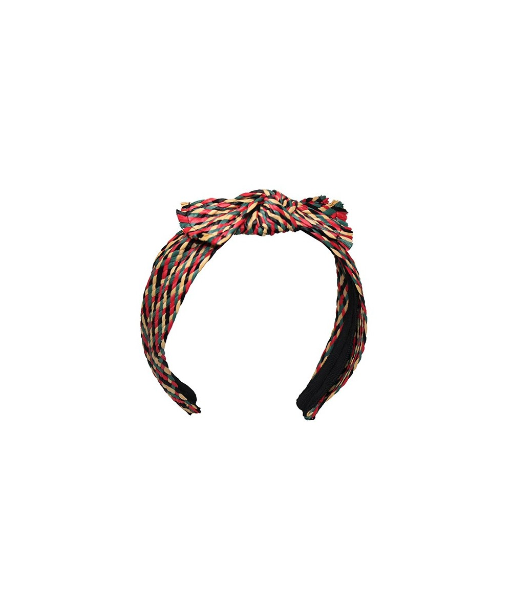 Raffia Headband Trimmed with Center Frayed Edges Bow