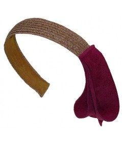 Wheat with Fuchsia Toyo Straw Headband with Side Suede Detail