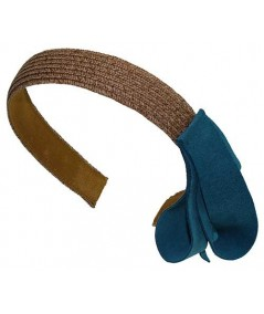 Wheat with Turquoise Toyo Straw Headband with Side Suede Detail