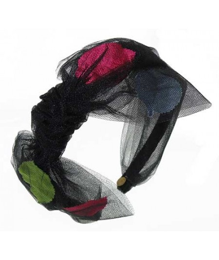Black Tulle Side Bow Headbadn with Multi Color Leaves
