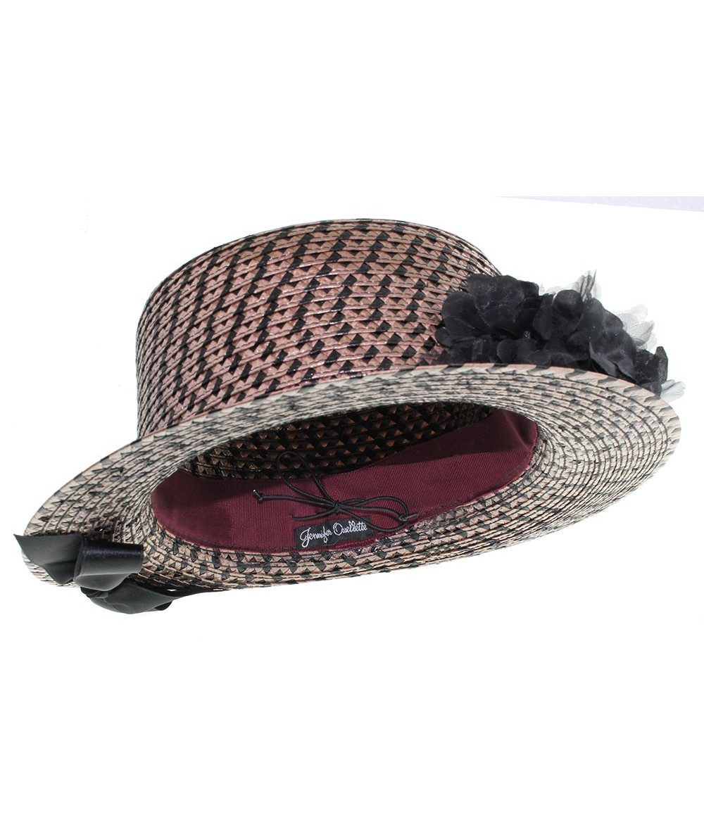 Blck and Brown Braid Hat with Pom Pom Organza Flower and Satin Bow Inside Brim