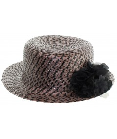 Black and Brown Braid Hat with Pom Pom Organza Flower and Satin Bow Inside Brim