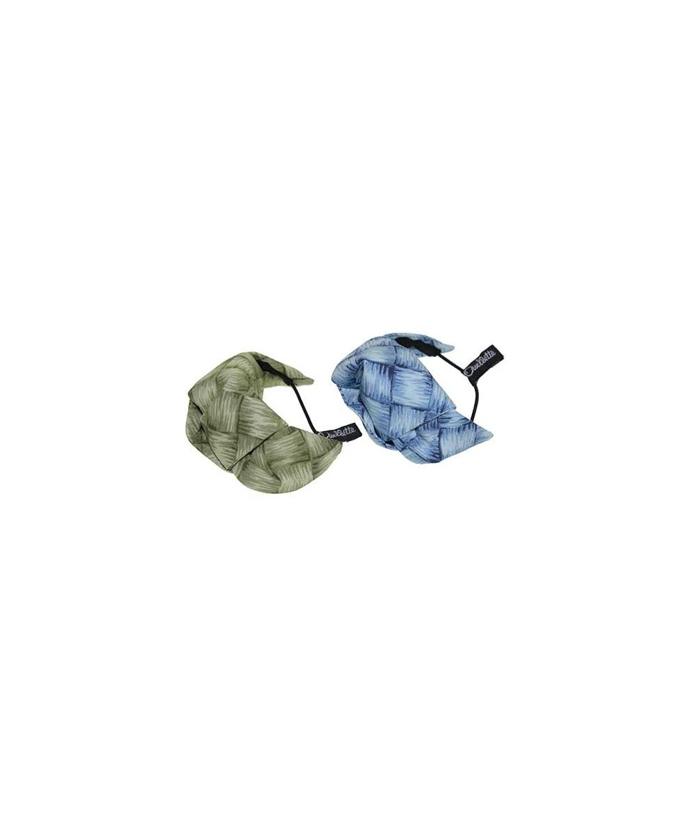 Green and Blue Lauhala Cotton Print Knot Turban Ponytail Holder