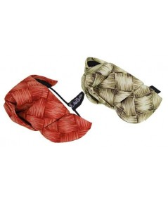 Red and Natural Lauhala Cotton Print Knot Turban Ponytail Holder