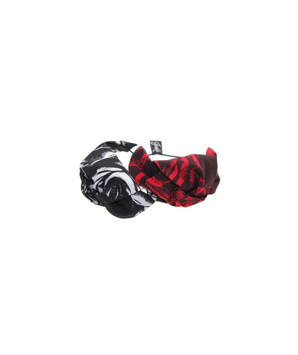 Rose Silk Print Knot Hair Tie