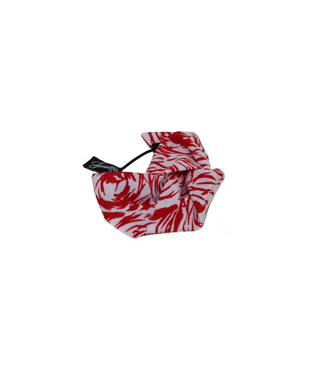 White and Red Roses Silk Print Knot Pony Holder