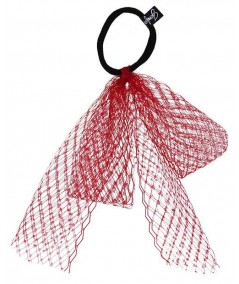 Red Veiling Large Bow Ponytail Holder