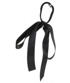Black Satin Large Bow Ponytail Holder