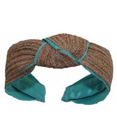 Wheat Toyo with Sea Breeze Grosgrain Center Turban Headband