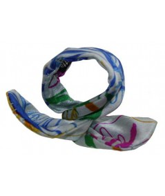 Multi Flower Silk Print Wire Pony Holder