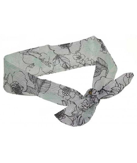 Draped Silk Print Chiffon Head Wrap