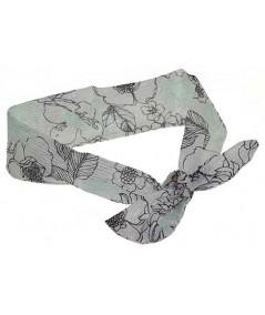 Draped Silk Print Chiffon Head Wrap
