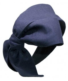 Navy Linen Bow Headpiece