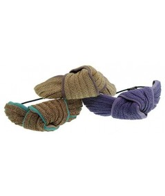Straw and Grosgrain Turban Ponytail Elastic or Bracelet